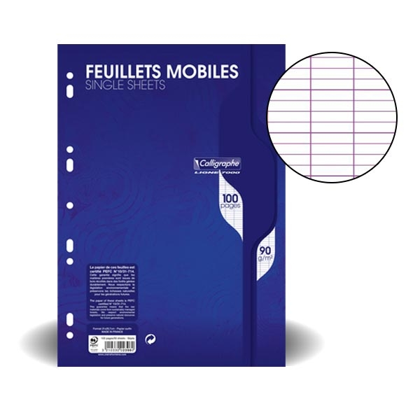 Feuillets mobiles perfor s 21x29 7 cm s y s feuille for Feuille simple grand carreaux