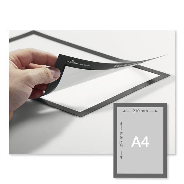 lot de 2 pochettes d 39 affichage a4 adh sives duraframe gris argent pochette cadre transparent. Black Bedroom Furniture Sets. Home Design Ideas