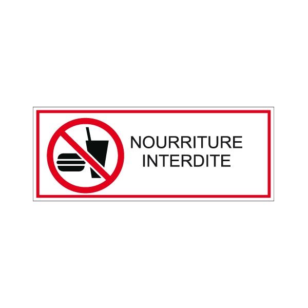 panneau horizontal pvc 250x100 mm nourriture interdite. Black Bedroom Furniture Sets. Home Design Ideas
