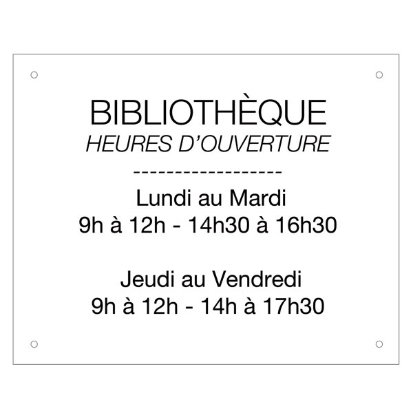 plaque horaires en acrylique 305x245 mm fond blanc texte noir plaque horaire panneau. Black Bedroom Furniture Sets. Home Design Ideas