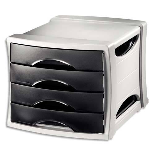 Module de classement noir 4 tiroirs module de rangement for Casiers de rangement bureau