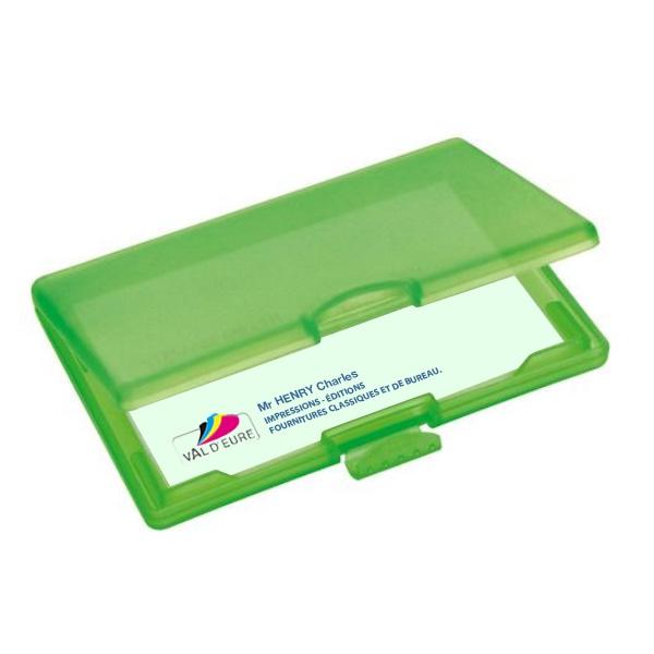 Etui pour cartes de visite plastique vert porte carte for Bureau 90x50