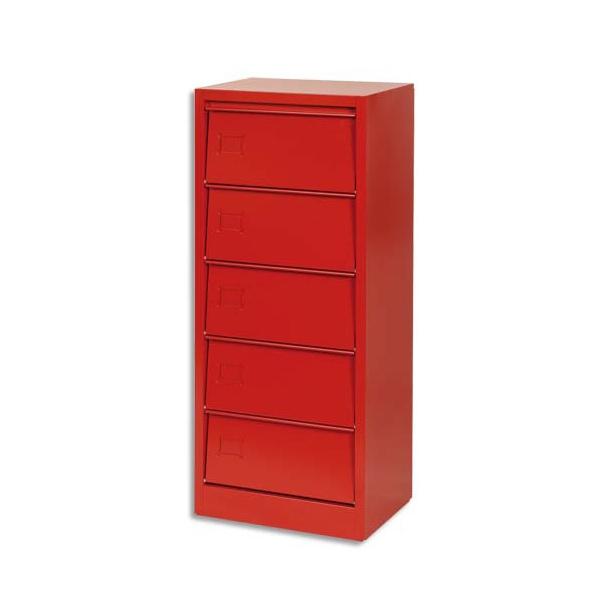 Colonne de classement 5 clapets rouge rangement classement meuble caisson mobilier de bureau - Armoire ordinateur fermee ...