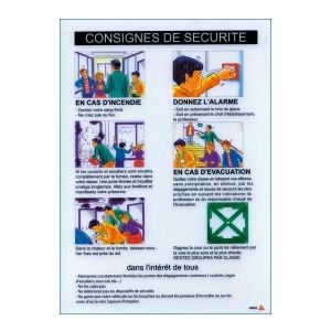 consignes de s curit pour salle de classe signaletique signalisation plaque panneau affiche. Black Bedroom Furniture Sets. Home Design Ideas