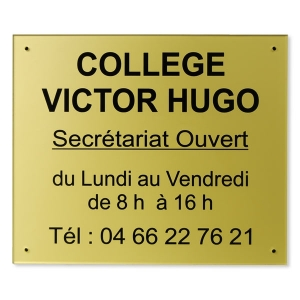 plaque horaires plexiglas 250x300 mm or noir plaque de horaire heure d 39 ouverture plexi. Black Bedroom Furniture Sets. Home Design Ideas