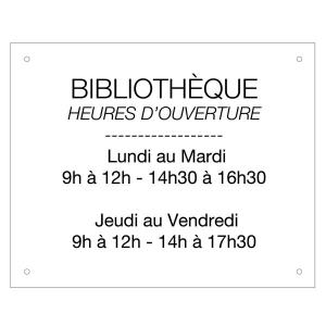 Plaque horaires en acrylique 305x245 mm fond blanc - Cabinet medical mezieres sur seine horaires ...