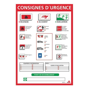consignes d 39 urgence plaque affiche affichage obligatoire panneau panonceau pictogramme. Black Bedroom Furniture Sets. Home Design Ideas